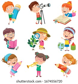 Cartoon Characters Doing Various Activities