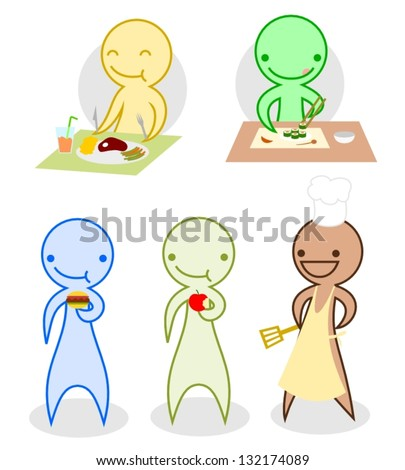 Cartoon Characters Eating Cooking Stock Vector Royalty Free