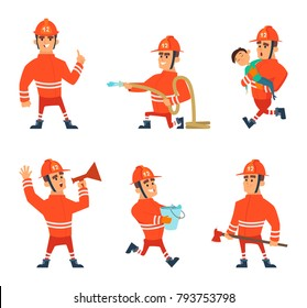 Cartoon characters of firefighters in action poses. Vector firefighter emergency, illustration of fireman