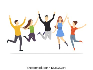 Cartoon Characters Group of People Jumping Set Happy, Fun and Active Concept Element Flat Design Style. Vector illustration