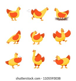 Cartoon Characters Happy Hens Set Cute Chicken Concept Element Flat Design Style. Vector illustration of Character Hen Domestic Bird
