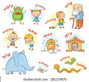 Cartoon characters illustrating antonymous adjectives, can be used as a teaching aid for a foreign language learning