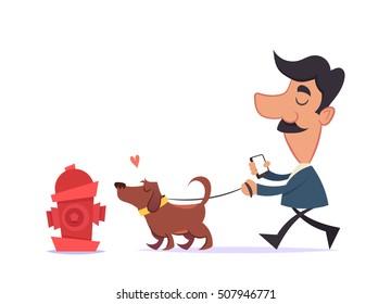 Cartoon Characters: Man Walking with His Dog. Vector Illustration