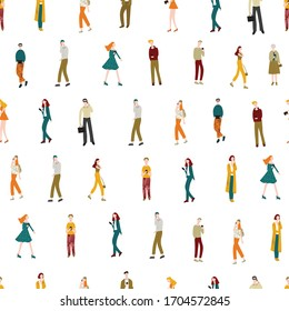 Cartoon Characters Men and Women Holding Smartphones Seamless Pattern Background on a White Gadgets Communication Technology Concept Element Flat Design Style. Vector illustration