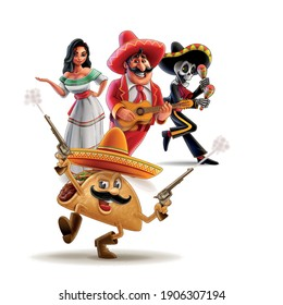 cartoon characters mexican skeleton musician taco and woman