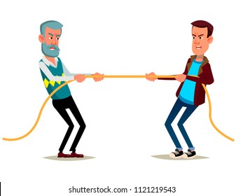 Cartoon characters old and young man pull the rope