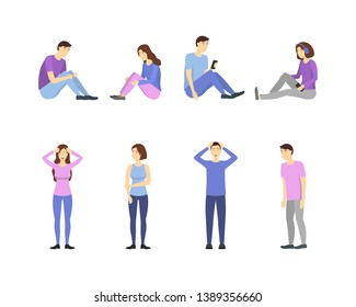 Cartoon Characters People Depressed and Sadness Set Unhappy Adult Person with Problem, Stress and Anxiet . Vector illustration