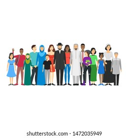 Cartoon Characters People National Family Crowd Multicultural Traditional Generation Concept Element Flat Design Style. Vector illustration