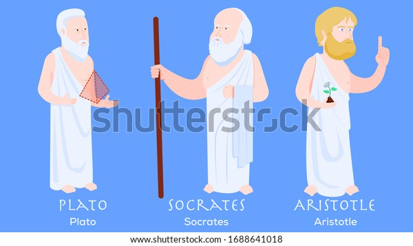 Cartoon characters of philosophers Plato, Aristotle and Socrates. Philosophy and history.