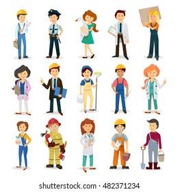 cartoon characters for the presentation , a doctor , a policeman , a fireman , engineer , foreman, boss, worker , house painter , construction worker, longshoreman , a farmer , carpenter , officer