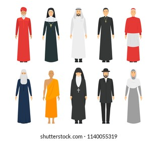 Cartoon Characters Religion People Different Types Set Traditional Clothing Concept Element Flat Design Style. Vector illustration of Man and Woman