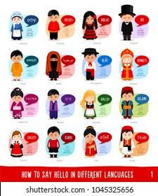 Cartoon characters saying hello in most popular languages: Hebrew, Chinese, Spanish, English, Hindi, Arabic, Portuguese, Russian, Japanese, Korean, German, Turkish, French, Italian, Thai, Greek.