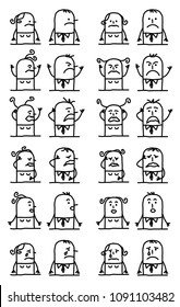Cartoon Characters Set - Unhappy and Sad Faces