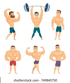 Cartoon characters of strong and muscular bodybuilders posing in different poses. Bodybuilder muscular and strong, character athlete, vector illustration