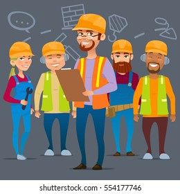Cartoon characters. Team home builders, building project, vector illustration, construction workers team.
