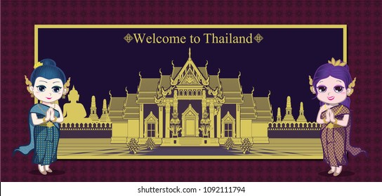 cartoon characters of two cute Thai girls wearing retro culture costume standing in front the Thailand temple with two giant sculpture in Thai pattern frame
