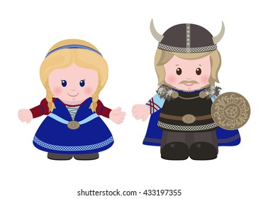 Cartoon characters of Vikings, man and woman in in ancient scandinavian clothing. Vector illustration