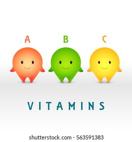 Cartoon characters. Vitamin pills for healthy lifestyle.