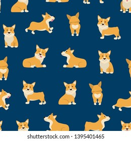 Cartoon Characters Welsh Corgi Seamless Pattern Background Domestic Pets Concept Element Flat Design Style. Vector illustration