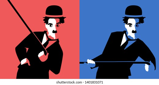 Cartoon Charlie Chaplin. Two vector portraits. May 19, 2019. Editorial use only