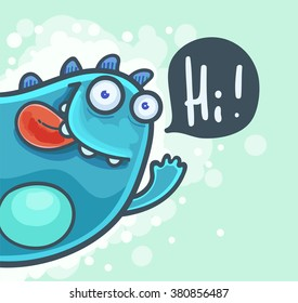Cartoon cheerful Monster waving hello
