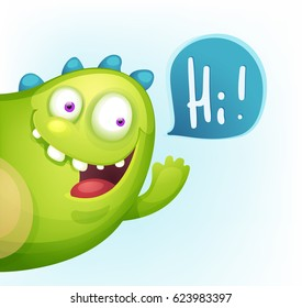 Cartoon cheerful Monster waving hello