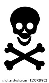 Cartoon cheerful skull and bones silhouette. Vector illustration. Isolated on white background