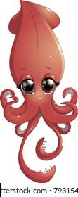 cartoon cheerful squid