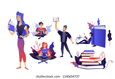 Cartoon cheerful young men, women reading books sitting crossed legs, standing, lying at books pile and holding textbook above head set. Vector male, female characters and education literature symbols