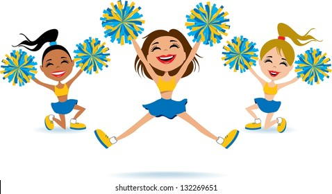 Cartoon Cheerleaders Show Team Spirit