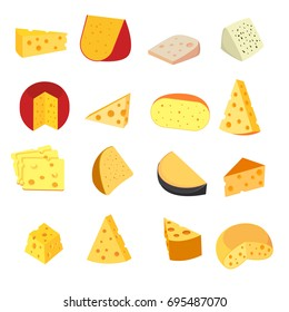 Cartoon cheese icons set. Templates of different types of fresh cheesy products. Isolated. Vector