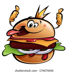 Cartoon cheeseburger king making a thumbs up gesture wearing a crown and sticking out tongue