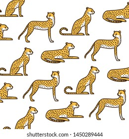 Cartoon cheetah - simple trendy pattern with animal. Cartoon flat vector illustration for prints, clothing, packaging and postcards.