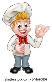 Cartoon chef or baker character giving thumbs up and perfect delicious gesture