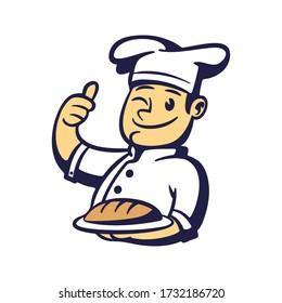 Cartoon Chef Bread Mascot Logo
