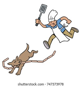 Cartoon of chef chasing a cheeky dog who has stolen a string of sausages