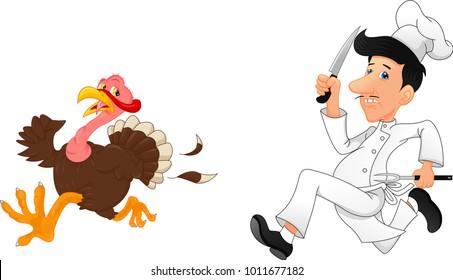 Cartoon chef chasing a turkey
