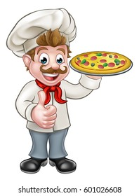 Cartoon chef cook character holding pizza and giving a thumbs up