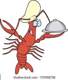 cartoon chef crawfish holding out a plate with warming cover