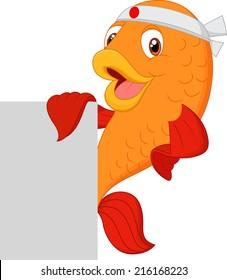 Cartoon chef fish holding blank sign
