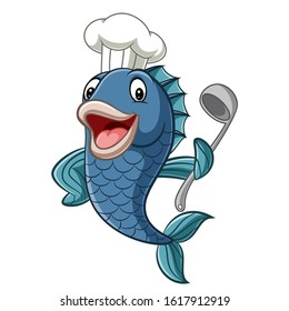 Cartoon chef fish holding a soup ladle