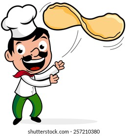 Cartoon chef making a pizza, tossing dough. Vector illustration