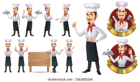 Cartoon Chef Mascot Character with 9 Poses_Vector EPS 10