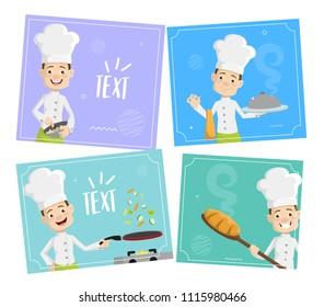 cartoon chef templates background flat vector stock vector royalty