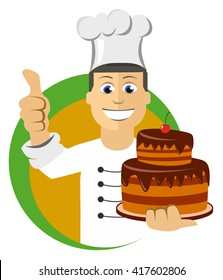 Cartoon chefs cooking, holding tray with cake, vector illustration