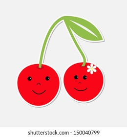 Cartoon cherries with happy faces. Card.