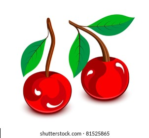 Cartoon cherries with leaves, vector illustration. Fruits and vegetables collection. Raster version available in my portfolio