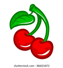 Cartoon Cherry Fruit on Green Stem with Leaf