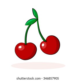 Cartoon cherry isolated on white background. Vector illustration