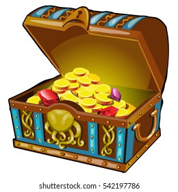 Cartoon chest in the style of underwater life filled with gemstones and gold coins. Vector illustration closeup.